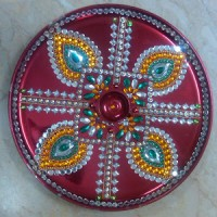 Navratri durga puja navratri decoration navratri for Aarti thali decoration with flowers
