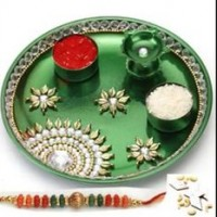 Navratri durga puja navratri decoration navratri for Aarti thali decoration with kundan