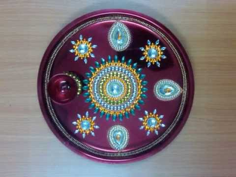 Navratri durga puja navratri decoration navratri for Aarti thali decoration images