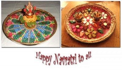 {Navratri 2015} Durga Puja – Navratri Decoration | Aarti Thali Decoration Ideas