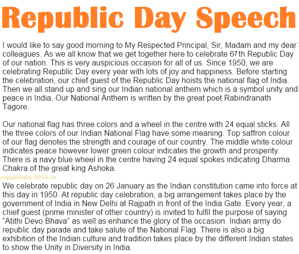 26 January Republic Day Speech